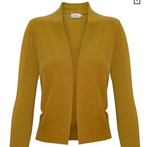 Mustard Bolero 3/4 ength sleeves